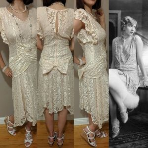 Vintage 80s does 20s Flapper Prom Dress